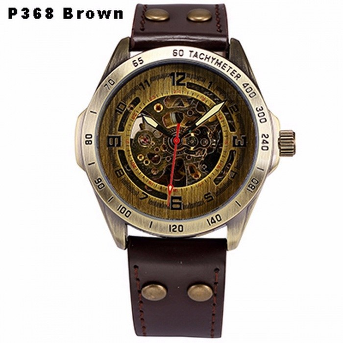 Buy Steampunk Skeleton Automatic Mechanical Watch, Retro Bronze Antique Leather Self Widing Wrist Watch Clock for Men P368 Brown with Litecoins with Free Shipping on Gipsybee.com