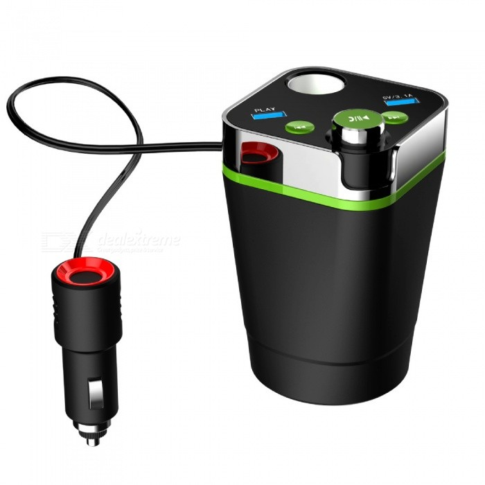 A28 Cup Shaped Multifunctional Car Bluetooth Kit w/ USB Rechargeable Hands-free FM Transmitter, MP3 PlayerFM Transmitters and Players<br>Form  ColorGreenModelA28Quantity1 DX.PCM.Model.AttributeModel.UnitMaterialABSScreen Size1.2 DX.PCM.Model.AttributeModel.UnitFunctionVoltage and current detection, 12-24V general, high-definition digital display, charging safety, voice broadcast, FM transmitter full frequency point, full-duplex calls, mobile phone musicFM Frequency Range87.5-108.0MHzFM Transmit Distance10 DX.PCM.Model.AttributeModel.UnitAudio FormatsOthers,MP3,WMARemote ControlNoInterface/PortOthers,Cigarette lighter interface and USBStorage InterfaceTFExternal Memory Max. Support64 DX.PCM.Model.AttributeModel.UnitPower Supply12~24 DX.PCM.Model.AttributeModel.UnitCertificationCEPacking List1 x Bluetooth car kit1 x Instruction<br>
