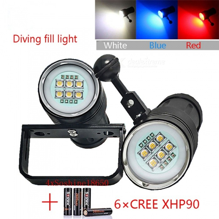 AIBBER TONE 6x Cree SST-90 White LED + 4x Red Light + 4x UV / Blue Light Underwater Video Light, Diving FlashlightDiving Flashlights<br>BundlessuitModelXHP90Quantity1 DX.PCM.Model.AttributeModel.UnitMaterialAviation aluminumEmitter BrandCreeLED TypeOthers,XHP90Emitter BINothers,XM-LColor BINRed,Blue,WhiteNumber of EmittersOthers,14Theoretical Lumens15000 DX.PCM.Model.AttributeModel.UnitActual Lumens12000 DX.PCM.Model.AttributeModel.UnitPower Supply4x18650Working Voltage   2.8~4.5 DX.PCM.Model.AttributeModel.UnitCurrent4.5 DX.PCM.Model.AttributeModel.UnitRuntime5~6 DX.PCM.Model.AttributeModel.UnitNumber of Modes3Mode ArrangementHi,Mid,LowMode MemoryNoSwitch TypeForward clickySwitch LocationSideLens MaterialPolycarbonate BoardReflectorNoWorking Depth Underwater100 DX.PCM.Model.AttributeModel.UnitStrap/ClipNoPacking List1 x Diving Flashlight1 x Flashlight holder4 x Soshine 2600mAh 18650 Batteries<br>