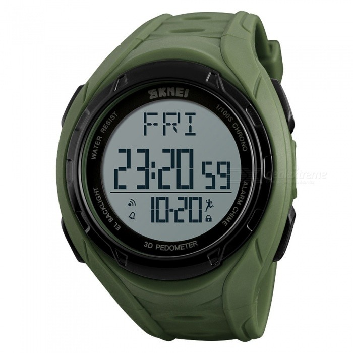 SKMEI 1315 50m Waterproof Mens Digital Sports Watch with Pedometer, Data Storage - Army GreenSport Watches<br>ColorArmy GreenModel1315Quantity1 DX.PCM.Model.AttributeModel.UnitShade Of ColorGreenCasing MaterialABSWristband MaterialPUSuitable forAdultsGenderMenStyleWrist WatchTypeFashion watchesDisplayDigitalBacklightEL LightMovementDigitalDisplay Format12/24 hour time formatWater ResistantWater Resistant 5 ATM or 50 m. Suitable for swimming, white water rafting, non-snorkeling water related work, and fishing.Dial Diameter5.5 DX.PCM.Model.AttributeModel.UnitDial Thickness1.5 DX.PCM.Model.AttributeModel.UnitWristband Length24 DX.PCM.Model.AttributeModel.UnitBand Width2.2 DX.PCM.Model.AttributeModel.UnitBattery1 x CR2032Packing List1 x SKMEI 1315 Watch<br>