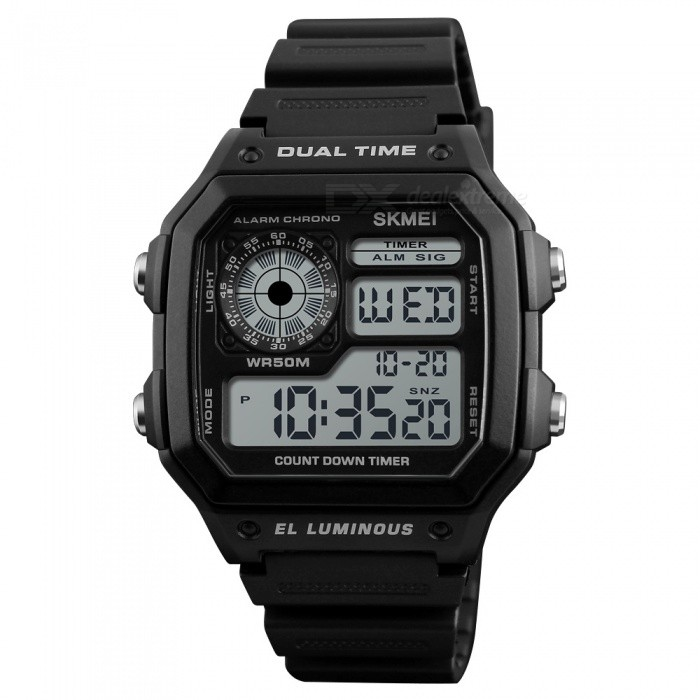 SKMEI 1299 50m Waterproof Men's Digital Sports Watch - Balck for sale for the best price on Gipsybee.com.