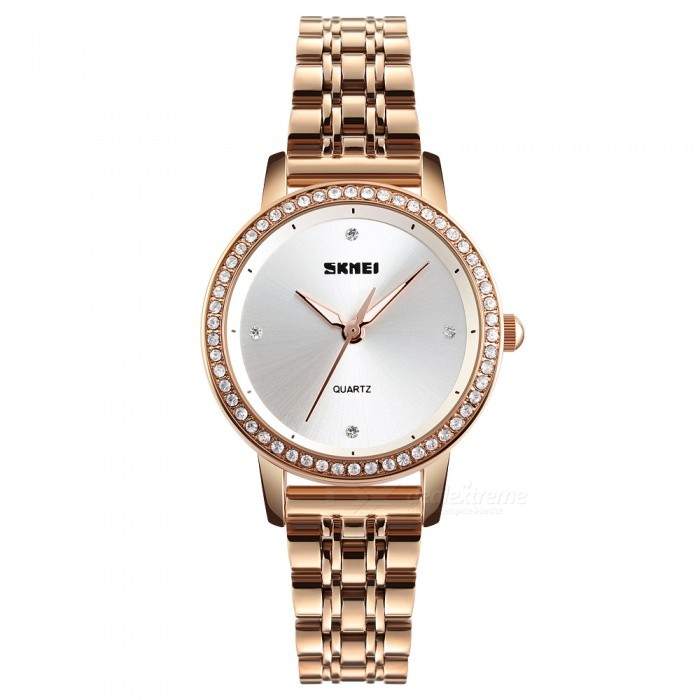 SKMEI 1311 30m Waterproof Womens Quartz Watch - Rose GoldWomens Dress Watches<br>ColorRose GoldModel1311Quantity1 DX.PCM.Model.AttributeModel.UnitShade Of ColorGoldCasing MaterialZINC AlloyWristband MaterialStainless SteelGenderWomenSuitable forAdultsStyleWrist WatchTypeFashion watchesDisplayAnalogMovementQuartzDisplay Format12 hour formatWater ResistantWater Resistant 3 ATM or 30 m. Suitable for everyday use. Splash/rain resistant. Not suitable for showering, bathing, swimming, snorkelling, water related work and fishing.Dial Diameter4.0 DX.PCM.Model.AttributeModel.UnitDial Thickness0.8 DX.PCM.Model.AttributeModel.UnitBand Width23 DX.PCM.Model.AttributeModel.UnitWristband Length1.2 DX.PCM.Model.AttributeModel.UnitBattery1 x SR626SWPacking List1 x SKMEI 1311 Watch<br>