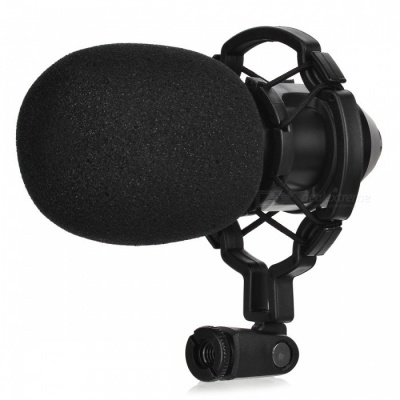 JEDX BM800 Professional Condenser Sound Recording Microphone with Anti-Shock Mount - Black