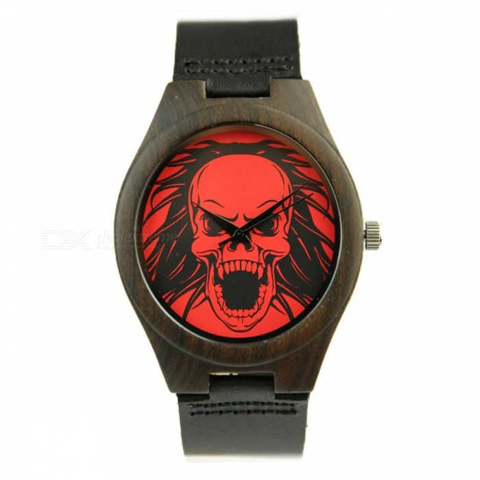 Redear 1448 Vogue Skeleton Pattern Dial Black Bamboo Wooden Wrist Watch with Leather Strap for Women
