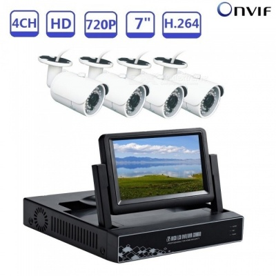 Strongshine 4CH 7 Inches 1080N CCTV DVR Compatible AHD TVI CVI CVBS Real Time Video Recorder Kit with 720P AHD Cameras - US Plug