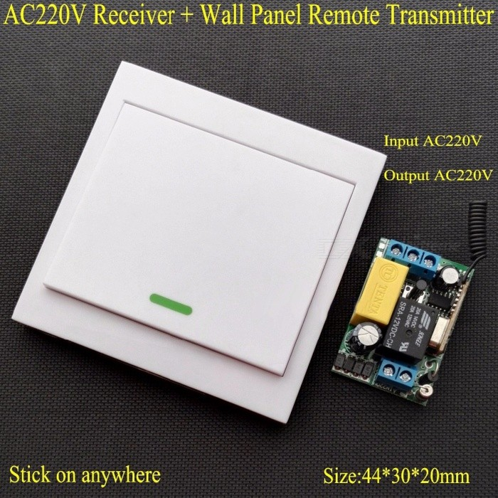 AC 220V Receiver Wall Panel Remote Transmitter Wireless Remote Control Switch Hall Bedroom Ceiling Lights Wall Lamps Wireless TX white