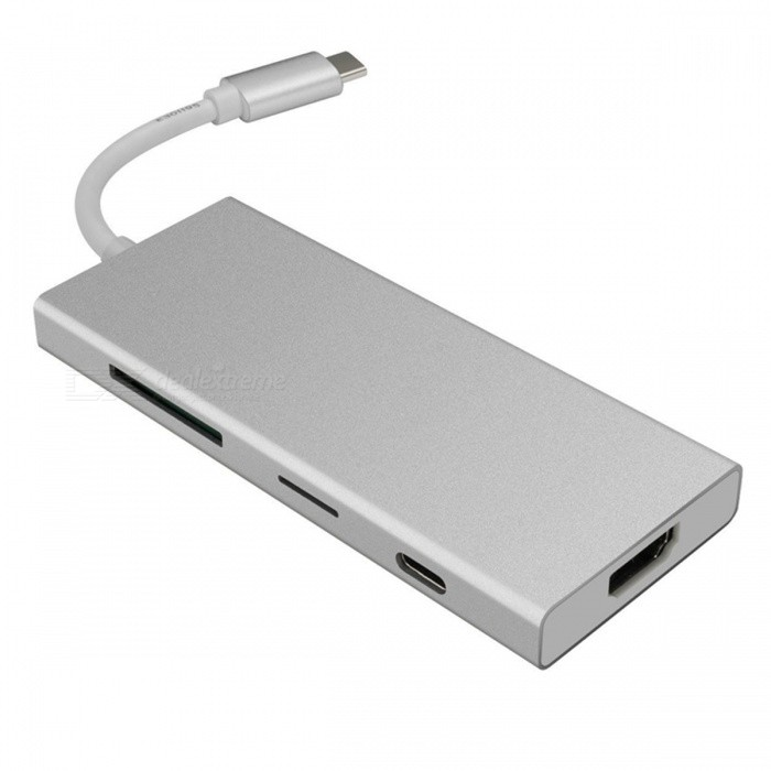 Portable Mini USB3.1 Type-C Hub with HDMI / USB3.0 / SD / TF Ports - SilverLaptop/Tablet Cable&amp;Adapters<br>ColorSilverQuantity1 DX.PCM.Model.AttributeModel.UnitShade Of ColorSilverMaterialAluminum alloyInterfaceUSB 3.0,Others,HDMI/TFPacking List1 x Type-C Hub<br>