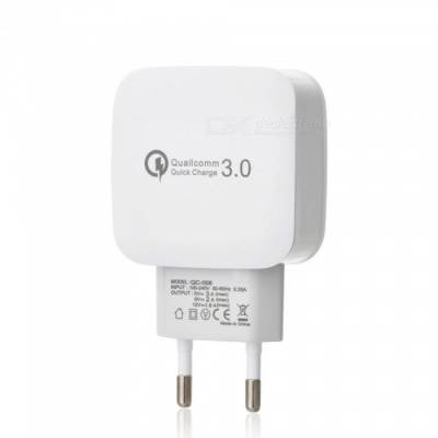 QC 3.0 5V/3A Fast Quick Charge EU Plug USB AC Charger USB Wall Charger - White