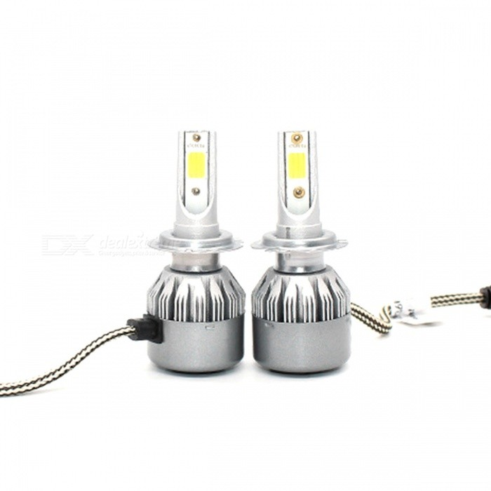 ZHAOYAO H7 36W 3800ML C6 Car LED Blub Headlights (One Pair)Headlights<br>ColorSilverModelH7Quantity1 DX.PCM.Model.AttributeModel.UnitMaterialAluminum alloyPower36 DX.PCM.Model.AttributeModel.UnitWorking Voltage12VConnectorH7ApplicationHigh Beam LampSuitable forUniversalPacking List2 x Car headlights<br>