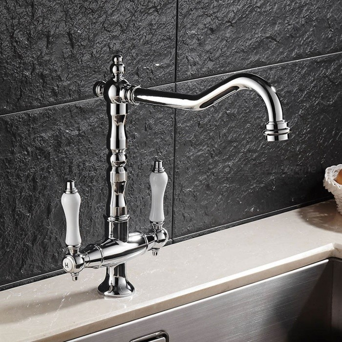 F-9088C Brass Chrome 360 Degree Rotatable Ceramic Valve Two Handle One Hole Kitchen FaucetKitchen Faucets<br>ColorSilverSizeOther Regions/CountriesModelF-9088CMaterialBrassQuantity1 DX.PCM.Model.AttributeModel.UnitFinishChromeValve TypeCeramic ValveNumber of handlesDoubleSpout Height21.5 DX.PCM.Model.AttributeModel.UnitSpout Length21.5 DX.PCM.Model.AttributeModel.UnitTotal Height27.5 DX.PCM.Model.AttributeModel.UnitPacking List1 x Faucet2 x Stainless steel tubes (60cm)<br>