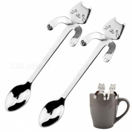 Stainless Steel Coffee & Tea Spoon Mini Cat Long Handle Creative Spoon Drinking Tools Kitchen Gadget Flatware Tableware 2PCS 2Pcs