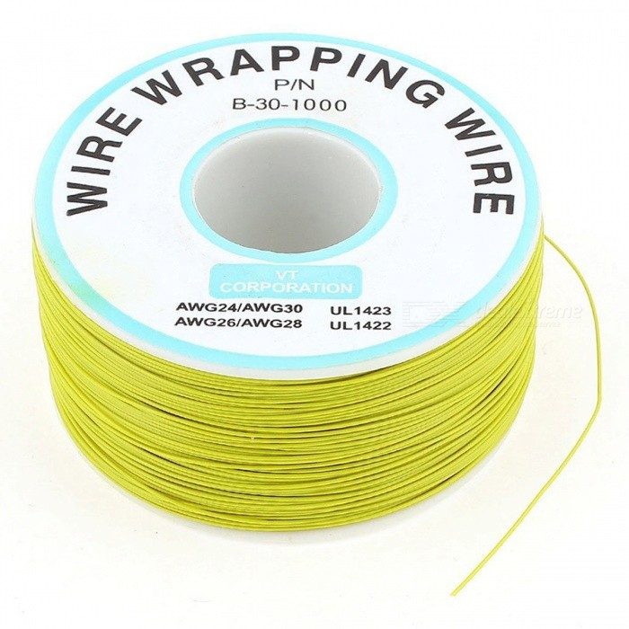 RXDZ P/N B-30-1000 200M 30AWG Insulation Test Wrapping Wire Cable - YellowDIY Parts &amp; Components<br>ColorYellowModelP/N B-30-1000Quantity1 DX.PCM.Model.AttributeModel.UnitMaterialPlastic, pvc, tinned copperEnglish Manual / SpecNoCertificationNOPacking List1 x Wrapped Wire<br>