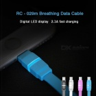 REMAX Breathable LED Micro USB Data Cable, 2.1A Smart Fast Charging / Data Sync Transfer Flat Cable for Samsung/Xiaomi 1m/black