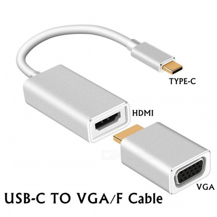 Portable 3-in-1 USB 3.1 Type-C to HDMI / VGA Adapter - Silver