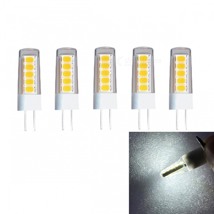 JRLED G4 2W SMD2835 10-LED Cold White Ceramic Light Bulb (AC220V, 5 PCS)G4<br>Power SupplyAC220VEmitting ColorCold WhiteModel2W 2835 10 LEDModelN/AMaterialCeramics + PCForm  ColorWhite + YellowQuantity5 DX.PCM.Model.AttributeModel.UnitPower2WRated VoltageAC 220 DX.PCM.Model.AttributeModel.UnitConnector TypeG4Chip BrandEpistarChip Type2835Emitter TypeOthers,2835 SMDTotal Emitters10Theoretical Lumens230 DX.PCM.Model.AttributeModel.UnitActual Lumens200 DX.PCM.Model.AttributeModel.UnitColor Temperature6000KDimmableNoBeam Angle360 DX.PCM.Model.AttributeModel.UnitWavelengthN/ACertificationCE ROHSOther FeaturesThis product is to improve the traditional silica gel style, use ceramic cooling and PC cover reinforcement to make it stronger and stronger. The light source adopts the latest high brightness wafer, with higher brightness and better application effect.Packing List5 x G4 LED Bulbs<br>
