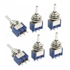 RXDZ 12pcs Blue Three Positions 3-Pin SPDT ON-OFF-ON Mini Toggle Switch 6A AC125V