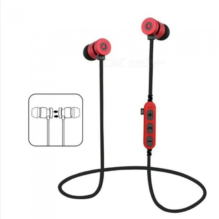 Sports Bluetooth V4.2 Magnetic Sweatproof Stereo Earphones Headphones In-Ear Wireless Earbuds with Mic - RedHeadphones<br>ColorRedBrandOthers,VigrosModelMS-T9MaterialMetal+ABSQuantity1 DX.PCM.Model.AttributeModel.UnitConnectionBluetoothBluetooth VersionBluetooth V4.2Bluetooth ChipJLOperating Range10MConnects Two Phones SimultaneouslyYesLeft &amp; Right Cables TypeEqual LengthHeadphone StyleEarbud,In-Ear,Neckband,Ear-hookWaterproof LevelIPX4Applicable ProductsUniversalHeadphone FeaturesHiFi,English Voice Prompts,Phone Control,Long Time Standby,Magnetic Adsorption,Noise-Canceling,Volume Control,With Microphone,Lightweight,Portable,Game Headset,Invisible Style,For Sports &amp; ExerciseRadio TunerNoSupport Memory CardYesMemory Card SlotStandard TF CardMax. Memory Supported64GBSupport Apt-XNoChannels2.0Frequency Response20-20KHZBattery TypeLi-polymer batteryBuilt-in Battery Capacity 80 DX.PCM.Model.AttributeModel.UnitStandby Time120 DX.PCM.Model.AttributeModel.UnitTalk Time7 DX.PCM.Model.AttributeModel.UnitMusic Play Time7 DX.PCM.Model.AttributeModel.UnitPower AdapterUSBPacking List1 x Bluetooth Earphones1 x Charging Cable<br>