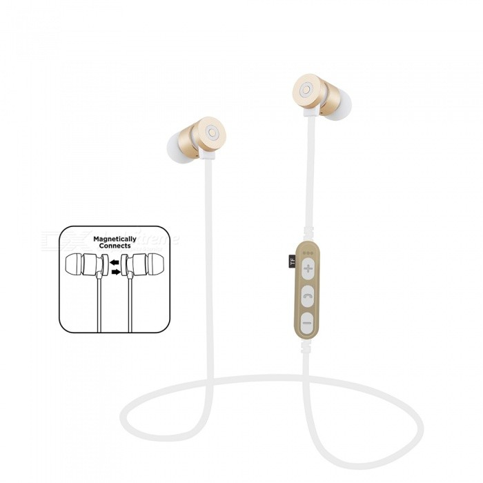 Sports Bluetooth V4.2 Magnetic Sweatproof Stereo Earphones Headphones In-Ear Wireless Earbuds with Mic - GoldHeadphones<br>ColorGoldBrandOthers,VigrosModelMS-T9MaterialMetal+ABSQuantity1 DX.PCM.Model.AttributeModel.UnitConnectionBluetoothBluetooth VersionBluetooth V4.2Bluetooth ChipJLOperating Range10MConnects Two Phones SimultaneouslyYesLeft &amp; Right Cables TypeEqual LengthHeadphone StyleEarbud,In-Ear,Neckband,Ear-hookWaterproof LevelIPX4Applicable ProductsUniversalHeadphone FeaturesHiFi,English Voice Prompts,Phone Control,Long Time Standby,Magnetic Adsorption,Noise-Canceling,Volume Control,With Microphone,Lightweight,Portable,Game Headset,Invisible Style,For Sports &amp; ExerciseRadio TunerNoSupport Memory CardYesMemory Card SlotStandard TF CardMax. Memory Supported64GBSupport Apt-XNoChannels2.0Frequency Response20-20KHZBattery TypeLi-polymer batteryBuilt-in Battery Capacity 80 DX.PCM.Model.AttributeModel.UnitStandby Time120 DX.PCM.Model.AttributeModel.UnitTalk Time7 DX.PCM.Model.AttributeModel.UnitMusic Play Time7 DX.PCM.Model.AttributeModel.UnitPower AdapterUSBPacking List1 x Bluetooth Earphones1 x Charging Cable<br>