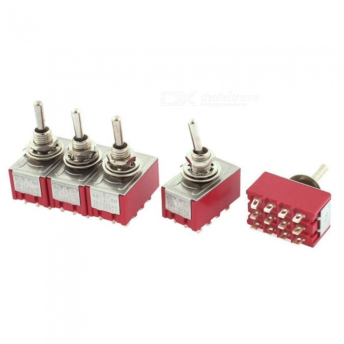 RXDZ AC250V 2A AC125V 5A 4PDT ON-OFF-ON 12 Pins Latching Toggle Switch - 5PCSSwitches &amp; Adapters<br>ColorRedQuantity5 DX.PCM.Model.AttributeModel.UnitMaterialMetal plasticPower RangeAC250V 2A AC125V 5AMax. Current5AWorking TemperatureNO DX.PCM.Model.AttributeModel.UnitCertificationNOPacking List5 x Toggle Switches<br>