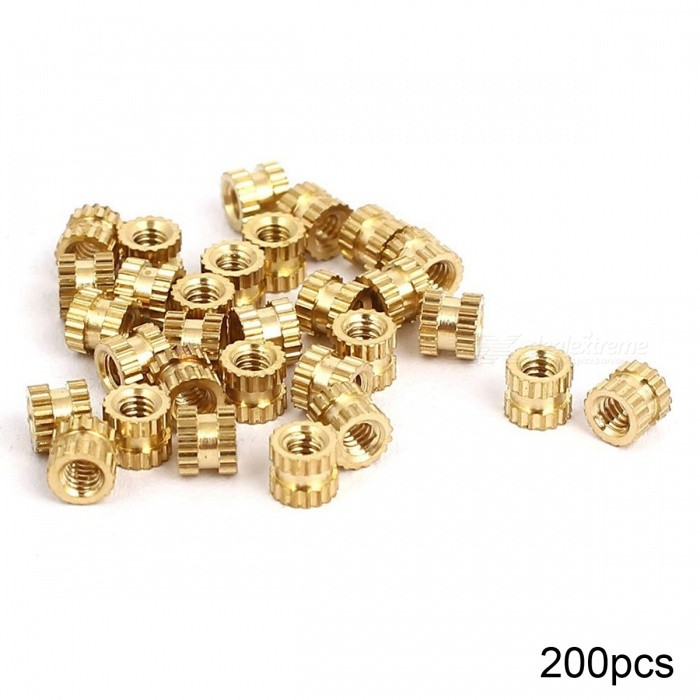 RXDZ M2x3mmx3.5mm Female Threaded Brass Knurled Insert Embedded Nuts - 200PCSDIY Parts &amp; Components<br>ColorGoldQuantity200 DX.PCM.Model.AttributeModel.UnitMaterialbrassEnglish Manual / SpecNoCertificationNOPacking List200 x Knurled Nut<br>