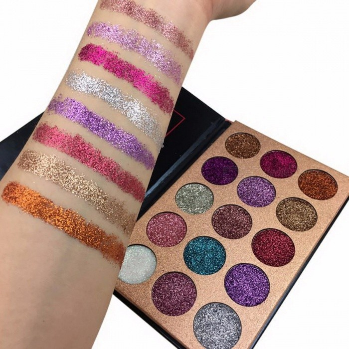 Beauty Glazed Glitter Injection Pressed Glitters Eyeshadow, Diamond Rainbow Make Up Cosmetic 15 Colors Eye Shadow Magnet Palette PK0139A