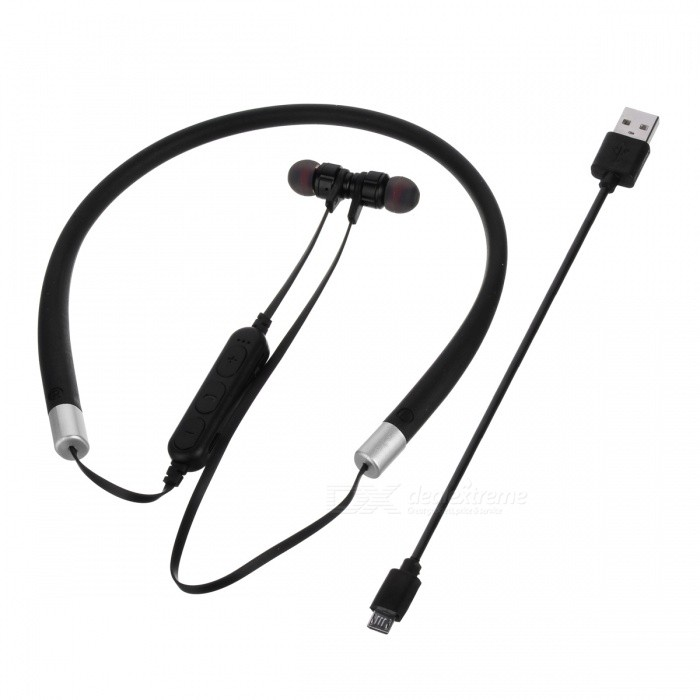 Cwxuan MS-T11 Bluetooth V4 2 Stereo Earphone, Neckband Headphone with  Microphone, TF Slot for Cell Phones - Black