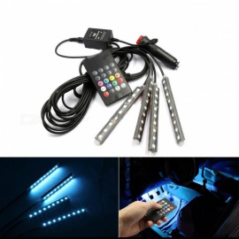 Car Interior Decorative Atmosphere Neon Light Lamp, LED Wireless Multi-Color RGB Voice Sensor Sound Music Control Auto Lamp RGB