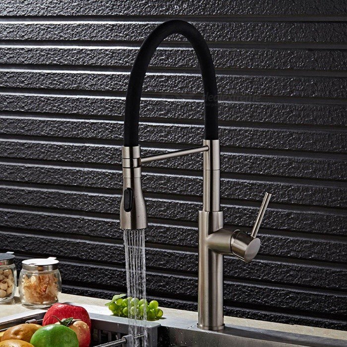 F-9112N Brass Brushed 360 Degree Rotatable Ceramic Valve Single Handle One-Hole Kitchen FaucetKitchen Faucets<br>ColorBlackSizeOther Regions/CountriesModelF-9112NMaterialBrassQuantity1 DX.PCM.Model.AttributeModel.UnitFinishBrushedValve TypeCeramic ValveNumber of handlesSingleSpout Height19.5 DX.PCM.Model.AttributeModel.UnitSpout Length20 DX.PCM.Model.AttributeModel.UnitTotal Height52 DX.PCM.Model.AttributeModel.UnitPacking List1 x Faucet2 x Stainless steel tubes (60cm)<br>