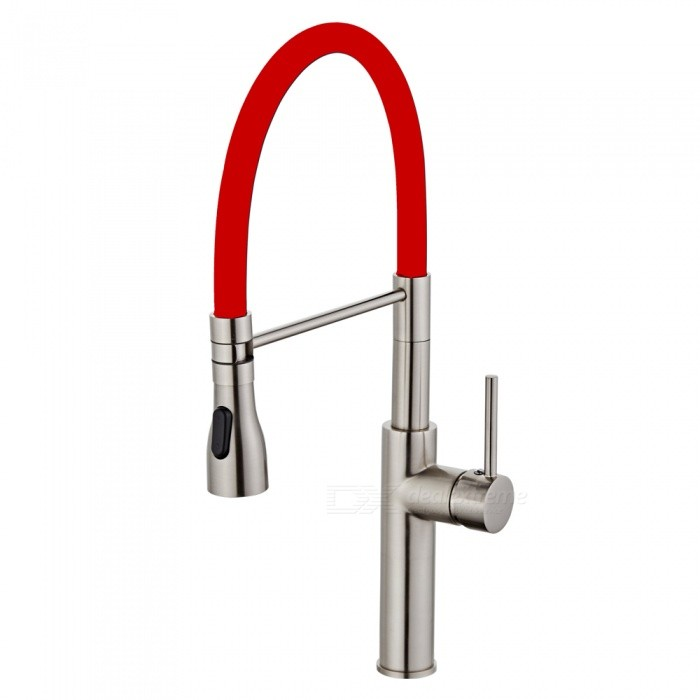 F-9112N Brass Brushed 360 Degree Rotatable Ceramic Valve Single Handle One-Hole Kitchen FaucetKitchen Faucets<br>ColorRedSizeNorth AmericaModelF-9112NMaterialBrassQuantity1 DX.PCM.Model.AttributeModel.UnitFinishBrushedValve TypeCeramic ValveNumber of handlesSingleSpout Height19.5 DX.PCM.Model.AttributeModel.UnitSpout Length20 DX.PCM.Model.AttributeModel.UnitTotal Height52 DX.PCM.Model.AttributeModel.UnitPacking List1 x Faucet2 x Stainless steel tubes (60cm)<br>