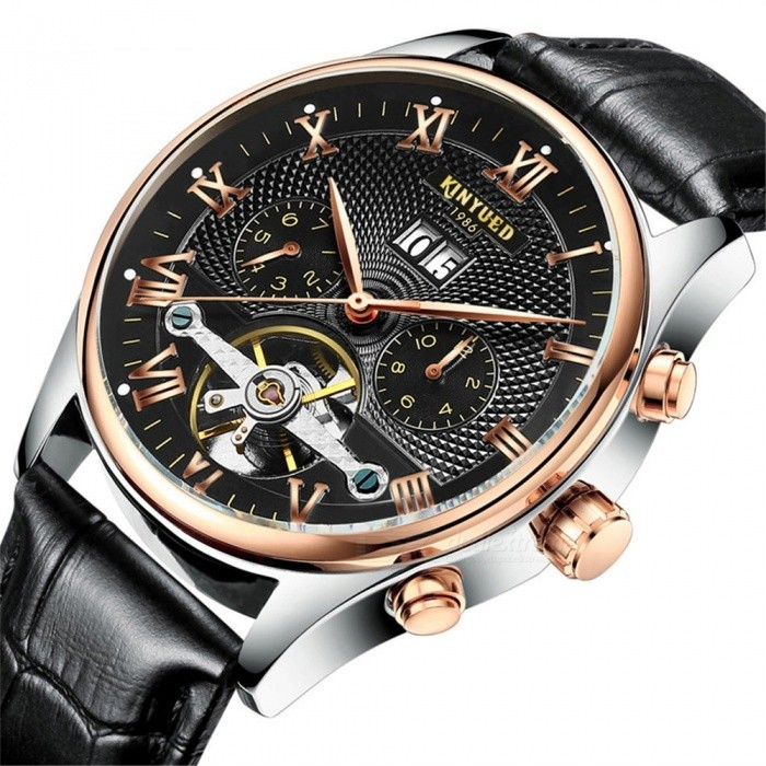 Buy KINYUED Men's Skeleton Tourbillon Mechanical Watch Automatic Classic Rose Gold Leather Mechanical Wrist Watch Black with Litecoins with Free Shipping on Gipsybee.com