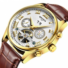KINYUED-Business-Mechanical-Watches-Mens-Skeleton-Tourbillon-Automatic-Watch-Men-Gold-Steel-Calendar-Waterproof-Relojes-Hombre-Brown-Leather-Band