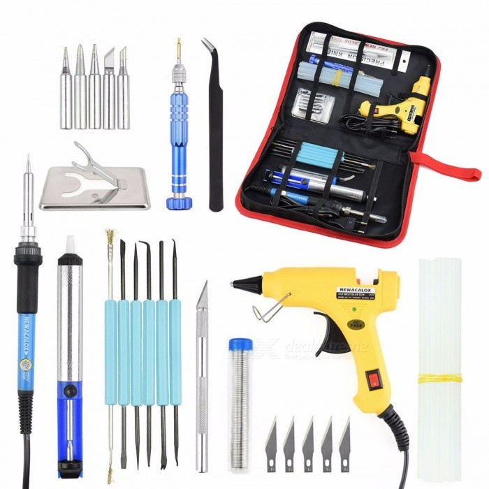 Buy NEWACALOX DIY EU 220V 60W Adjustable Temperature Electric Soldering Iron Welding Kit Screwdriver Glue Gun Repair Carving Knife yellow with Bitcoin with Free Shipping on Gipsybee.com