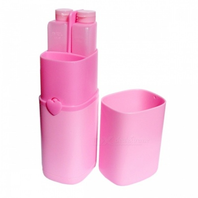 Portable Travel Wash Cup Suit, Home Travel Storage Package Box - Pink