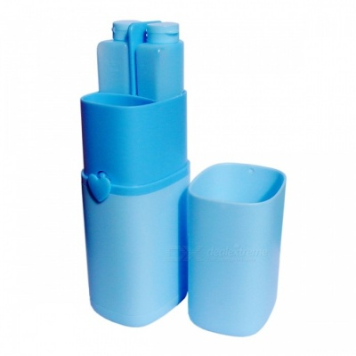 Portable Travel Wash Cup Suit, Home Travel Storage Package Box - Sky Blue