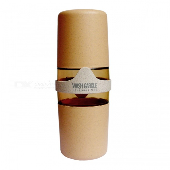 Natural Wheat Straw Material Portable Travel Double Wash Cup - KhakiBathroom Gadgets<br>Form  ColorKhakiMaterialWheat straw, PPQuantity1 DX.PCM.Model.AttributeModel.UnitPacking List1 x Wash gargle cup<br>