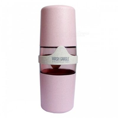 Natural Wheat Straw Material Portable Travel Double Wash Cup - Pale Pink