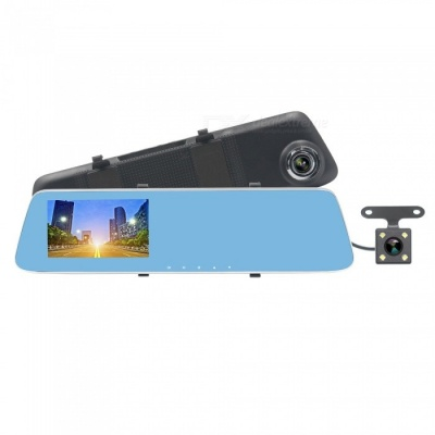 "ZIQIAO JL-907T 4.3"" HD 1080P Car Rearview Mirror DVR Camera with Starlight Night Vision, Dual Lenses"