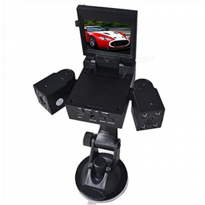 OJADE 2.0 Inches TFT LCD Rotary Screen Car DVR Recorder with 8-LED IR Night Vision, Dual Rotating Lens