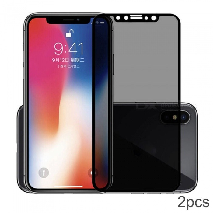 ASLING 3D Arc Edge Anti-Spy Anti-Peep Tempered Glass Screen Cover Privacy Screen Protector for IPHONE X - 2PCS