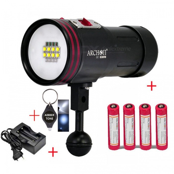 ARCHON D36VR W42VR D36V W42V CREE U2 UV Multifunction Underwater Photographing Diving Light Video LightDiving Flashlights<br>ColorBattery chargerQuantity1 DX.PCM.Model.AttributeModel.UnitMaterialDurable aircraft-grade aluminumEmitter BrandCreeLED TypeXM-L2Emitter BINU2Color BINRed,Purple,WhiteNumber of EmittersOthers,12Theoretical Lumens5200 DX.PCM.Model.AttributeModel.UnitActual Lumens5200 DX.PCM.Model.AttributeModel.UnitPower Supply18650 Li- ion battery *4Working Voltage   4.2  to  2.8 DX.PCM.Model.AttributeModel.UnitCurrent- DX.PCM.Model.AttributeModel.UnitRuntime- DX.PCM.Model.AttributeModel.UnitNumber of Modes3Mode ArrangementHi,Mid,LowMode MemoryNoSwitch TypeReverse clickySwitch LocationHeadLens Materialpolycarbonate lensReflectorNoWorking Depth Underwater100 DX.PCM.Model.AttributeModel.UnitStrap/ClipNoPacking List1 x Archon D36VR diving flashlight4 x Archon 18650 batteries1 x Charger1 x Handstrap2 x O-ring 1 x AIBBER TONE LED key chain<br>