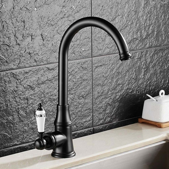 F-9098ORB Brass Oil-rubbed Bronze 360 Degree Rotatable Ceramic Valve Single Handle One-Hole Kitchen FaucetKitchen Faucets<br>ColorBlackSizeNorth AmericaModelF-9098ORBMaterialBrassQuantity1 DX.PCM.Model.AttributeModel.UnitFinishOthers,Oil-rubbed BronzeValve TypeCeramic ValveNumber of handlesSingleSpout Height23 DX.PCM.Model.AttributeModel.UnitSpout Length19.5 DX.PCM.Model.AttributeModel.UnitTotal Height32 DX.PCM.Model.AttributeModel.UnitPacking List1 x Faucet2 x Stainless steel tubes (60cm)<br>
