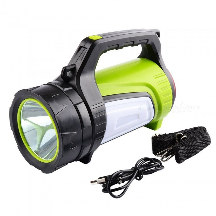 SPO Super Bright Long Distance Waterproof Searchlight, Handheld Lantern for Hunting, CampingOther Flashlights<br>ColorBlack + GreenModelTZ03Quantity1 DX.PCM.Model.AttributeModel.UnitMaterialABSNumber of Emitters1Color BINOthers,White + RedPower SupplyBuilt-in batteryVoltage3.7-4.2 DX.PCM.Model.AttributeModel.UnitCurrent3 DX.PCM.Model.AttributeModel.UnitTheoretical Lumens350-500 DX.PCM.Model.AttributeModel.UnitActual Lumens350-500 DX.PCM.Model.AttributeModel.UnitRuntime10 DX.PCM.Model.AttributeModel.UnitNumber of Modes10Mode ArrangementHi,Low,Fast Strobe,Others,Red light + red light flashing + red rotation.Mode MemoryNoSwitch TypeClicky SwitchSwitch LocationSide,Tail TwistyLensPlasticReflectorPlastic SmoothBeam Range200-350 DX.PCM.Model.AttributeModel.UnitStrap/ClipStrap includedEmitter BINT6Emitter BrandCreeEmitter BINT6LED TypeXM-LPacking List1 x Searchlight1 x USB cable1 x Condole belt<br>