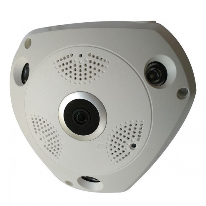 STRONGSHINE HD 960P 1.3MP 360 Degree Panoramic CCTV Wireless Wi-Fi IP Camera with Fisheye Lens, Night Vision - US PlugIP Cameras<br>Form  ColorWhiteImage Sensor Size1/3Focus1.44mmPower AdapterUS PlugForm  ColorWhiteImage Sensor Size1/3Focus1.44mmPower AdapterUS PlugModelST-VR1336G01RWMaterialPVCQuantity1 DX.PCM.Model.AttributeModel.UnitImage SensorCMOSLensOthers,1.44MMPixels1280*960Viewing AngleOthers,360 DX.PCM.Model.AttributeModel.UnitVideo Compressed FormatH.264Picture Resolution960PFrame Rate25Input/Output1CHAudio Compression FormatAACMinimum Illumination0.1 DX.PCM.Model.AttributeModel.UnitNight VisionYesIR-LED Quantity3Night Vision Distance30 DX.PCM.Model.AttributeModel.UnitWireless / WiFi802.11 b / g / nNetwork ProtocolTCP,IP,UDP,SMTP,FTP,DHCP,NTP,uPnPSupported SystemsOthersSupported BrowserOthersSIM Card SlotNoOnline Visitor10IP ModeDynamicMobile Phone PlatformAndroid,iOSPTZ memoryFreeFree DDNSYesIR-CUTYesBuilt-in Memory / RAMNoLocal MemoryYESMemory CardMicro SD/TF cardMax. Memory Supported128GBMotorNoRotation Angle360 DegreeSupported LanguagesEnglish,Simplified Chinese,PortugueseWater-proofNoRate Voltage12VIntercom FunctionYesPacking List1 x 360° Panoramic Camera (1.3mp)1 x User manual1 x Power supply for Camera1 x Screw and other parts<br>