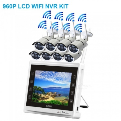 """STRONGSHINE 8 Channel Wireless Security Camera System with HD 960P IP Surveillance Cameras, 11"""" Wi-Fi NVR Kit - UK Plug"""