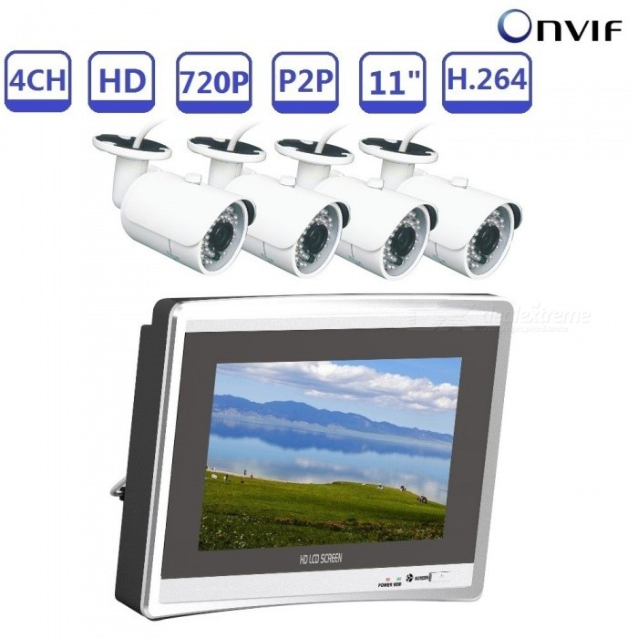 Strongshine NVR4 ONVIF Mini 4CH 720P H.264 NVR KIT Build-in 11 Inches LCD Screen with 1.0 MP IP Camera - EU PlugNVR Cards &amp; Systems<br>ColorSilver+WhitePower AdapterEUModelST-NVR9411NMKITS-1.0MPMaterialMetal +PlasticQuantity1 DX.PCM.Model.AttributeModel.UnitSystem ResourcesMulti-channel real-time recording synchronously,Multi-channel real-time playback,USB back upOperating SystemWindows 7,Android 3.0,Android 3.1,Android 3.2,Android 4.0,Linux,Windows 8,iOSRemote MonitoringNoPower AdaptorYesPower SupplyOthers,DC12VMobile Phone PlatformAndroid,iOSWorking Temperature-20~50 DX.PCM.Model.AttributeModel.UnitWorking Humidity10%~90%Video StandardsH.264Decode FormatH.264Multi-mode Video InputWiredMotion DetectionYesAudio Compression FormatAACAudio Input4 channelsAudio  Output1 ChannelVideo Input4 channelsVideo Output4 channelsMonitor Quality4ch 1080/8ch 960P/8ch 720P  Real Time Recording.Playback Quality1ch 720P or 960P realtime playback.Encode CapabilityH.264Decode CapabilityH.264Record ModeManual,Alarm,Motion DetectionVideo SearchTime,Date,Channel SearchStorageNoVideo StorageLocal HDD,NetworkBack up ModeNetwork backup,USB portable,HDDUSBUSB 2.0HDD PortSATAPacking List1. 1* 4CH NVR Built in 11 inch LCD Screen2. 1* Power supply for NVR3. 1* Mouse for NVR 4.  4*960P IP cameras5.  4*Power supply for camera6.  User manual of NVR7.  Screw for camera and NVR<br>
