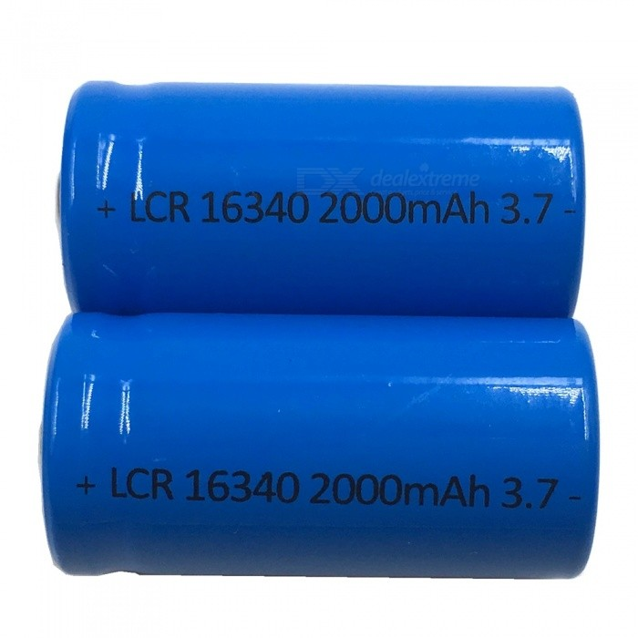 Buy ZHAOYAO 2Pcs 16340 Blue 3.7V 2000mAh Rechargeable Lithium Batteries with Litecoins with Free Shipping on Gipsybee.com