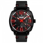 SKMEI 1351 30M Waterproof Men's Leather Band Quartz Watch with Calendar - Red