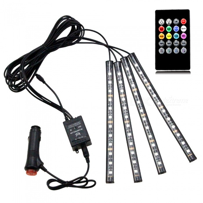 4-Piece Sound-controlled Car Interior Ambience Decorative LED Light, Colorful Atmosphere Light Strip Bar