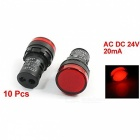 RXDZ 10Pcs AC DC 24V 20mA 22mm Panel Mounting Red Signal Plastic Round Head Electronic Circuit Energy Saving LED Pilot Lamps
