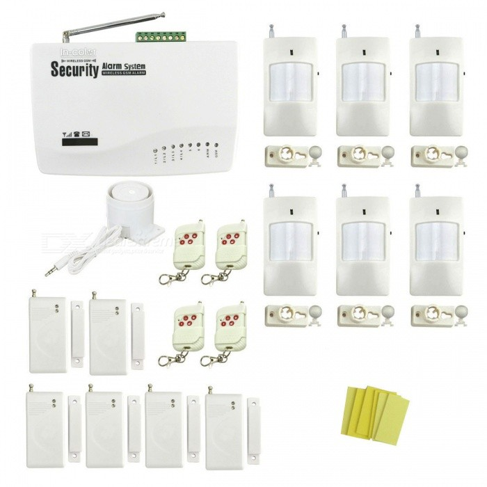 IN-Color Global Universal Wireless GSM Home Security Alarm System with 6Pcs Door / Window Detectors (EU Plug)Alarm Systems<br>Power AdapterEU PlugModelIN-176538AMaterialPlasticQuantity1 DX.PCM.Model.AttributeModel.UnitRemote Control Range30 DX.PCM.Model.AttributeModel.UnitVoice Decibels110dbPower AdaptorYesWorking Temperature-10~40 DX.PCM.Model.AttributeModel.UnitWorking Humidity90%Working Frequency433MHzBattery included or notYesBattery Number12Rated Current1 DX.PCM.Model.AttributeModel.UnitRate Voltage12VMobile Phone PlatformNoCertificationCEOther FeaturesSupport English, Russian, PolishPacking List1 x Host (built-in AAA battery, 67.2V, DC) 1 x Power (110~240V, 110cm-cable) 4 x Remote controls (DC12V / 23A included) 6 x Door / window magnetic detectors (9V included)6 x Wireless infrared detectors (DC9V, 6F22,  included) 1 x Mini siren (80cm-cable) 6 x Stickers 1 x English user manual<br>
